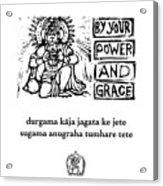 Black And White Hanuman Chalisa Page 36 Acrylic Print