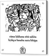 Black And White Hanuman Chalisa Page 58 Acrylic Print