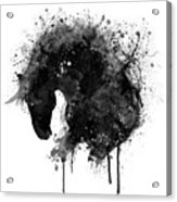 Black And White Horse Head Watercolor Silhouette Acrylic Print