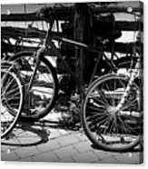 Black And White Leaning Bikes Acrylic Print