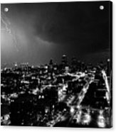 Black And White Lighting Over Kansas City Acrylic Print