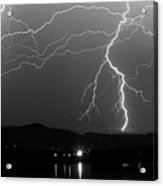 Black And White Massive Lightning Strikes Acrylic Print
