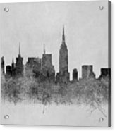 Black And White New York Skylines Splashes And Reflections Acrylic Print
