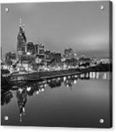 Black And White Of Nashville Tennessee Skyline Sunrise  Acrylic Print