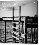 Black And White Old Time Dock Acrylic Print