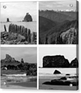 Black And White Olympic National Park Collage Acrylic Print