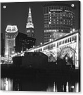 Black And White Panorama Of Cleveland Acrylic Print