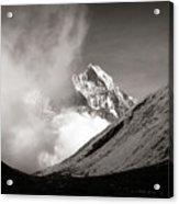 Black And White Photo Of Snow Peak In Nepal Acrylic Print