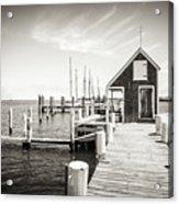 Black And White Photography - Martha's Vineyard - Black Dog Wharf Acrylic Print