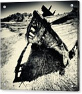 Black And White Photography Shipwreck Pinhole Acrylic Print