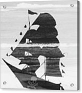 Black And White Pirate Ship Against The Sea And Crushing Waves. Double Exposure Acrylic Print