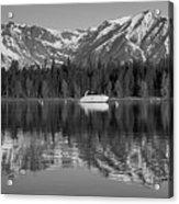 Black And White Reflection On Jackson Lake Wyoming Acrylic Print
