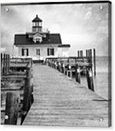 Black And White  Roanoke Lighthouse Acrylic Print