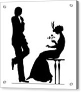 Black And White Silhouette Of A Man Giving A Woman A Flower Acrylic Print