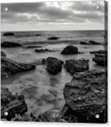 Black And White Sunset At Low Tide Acrylic Print