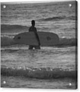 Black And White Surfer Acrylic Print