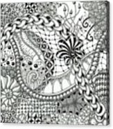 Black And White Tangle Art Acrylic Print