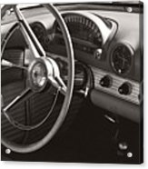 Black And White Thunderbird Steering Wheel And Dash Acrylic Print