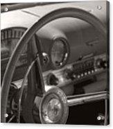 Black And White Thunderbird Steering Wheel  Acrylic Print