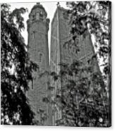 black and white Water Tower Acrylic Print