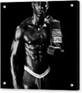 Black Boxer In Black And White 01 Acrylic Print by Val Black Russian Tourchin