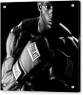Black Boxer In Black And White 03 Acrylic Print
