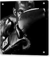 Black Boxer In Black And White 04 Acrylic Print by Val Black Russian Tourchin