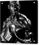 Black Boxer In Black And White 05 Acrylic Print