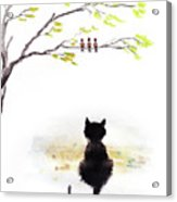 Black Cat Painting Acrylic Print