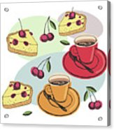 Black Cherry Pie And A Steaming Hot Cup Of Coffee Acrylic Print
