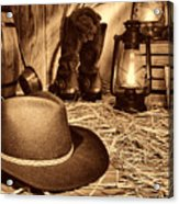 Black Cowboy Hat In An Old Barn Acrylic Print