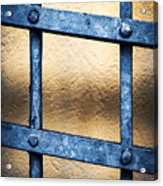 Black Forged Iron Grating With Rivets Acrylic Print