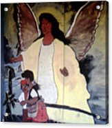 Black Guardian Angel Mural Acrylic Print