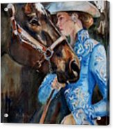 Black Horse And Cowgirl   Acrylic Print