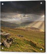 Black Mountains Light Rays Acrylic Print