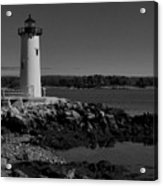 Black N White-portsmouth Harbor Lighthouse Acrylic Print