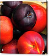 Black Plums And Nectarines In A Wooden Bowl Acrylic Print