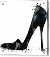 Black Shoe Fashion Watercolor Print  Acrylic Print