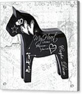 Black Swedish Dala Horse Acrylic Print