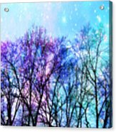 Black Trees Bright Pastel Space Acrylic Print