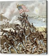 Black Troops Of The Fifty Fourth Massachusetts Regiment During The Assault Of Fort Wagner Acrylic Print by American School