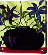 Black Vase With Lilies Acrylic Print