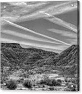 Black White Chem Trails Sky Overton Nevada  Acrylic Print