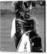 Black White Tiger Woods Bag Clubs  Acrylic Print