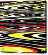 Black Yellow Red White Abstract Acrylic Print