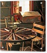 Blacksmith Shop Wheel Repair At Old World Wisconsin Acrylic Print