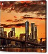 Blazing Manhattan Skyline Acrylic Print