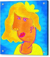 Blond Girl In A Yellow Hat Cubism Style Acrylic Print