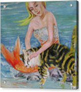 Blond Mermaid And Cat Acrylic Print