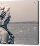 Blond Woman Looking To The Horizon. Acrylic Print